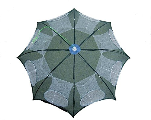 STEAM PANDA Cast Net Fishing Net Umbrella - 8 Hole White Hole - Fishing Cage Fish Cage Automatic Foldable Fishing Gear Hand Toss Fishing Gear Lobster Pot - 2 Pcs