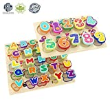TOP BRIGHT Wooden Puzzles Alphabet Educational Toys for 1 Year Old Girl Boy Gifts(Pack of 2)