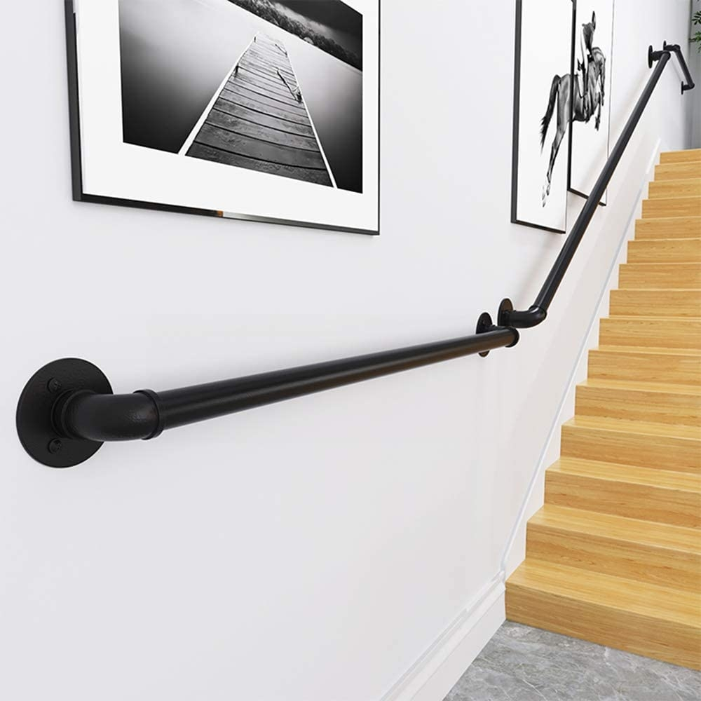 Wall Handrail 5Ft Section For Stairs Steps Dark Iron Easy Install | Interior Handrails For Steps | Aircraft Cable | Wrought Iron | Western | Closed Staircase | Stair Bannister