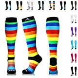 NEWZILL Compression Socks (20-30mmHg) for Men & Women - Best Stockings for Running, Medical, Athletic, Edema, Diabetic, Varicose Veins, Travel, Pregnancy, Shin Splints. (Rainbow Stripes, Small)