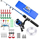 PLUSINNO Kids Fishing Pole,Light and Portable Telescopic Fishing Rod and Reel Combos for Youth Fishing by (Black Handle with Box, 150CM 59In)