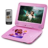 UEME Portable DVD CD Player with 10.1 Inches LCD Screen, Canvas Headrest Holder, Remote Control, Car Charger Wall Charger, Personal DVD Players with Built-in Rechargeable Battery (Pink)