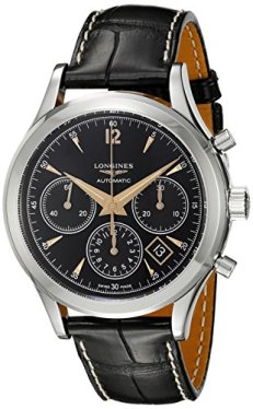 Longines Men's Stainless Steel Automatic-self-Wind Watch with Leather-Synthetic Strap, Black, 18 (Model: L27504560)