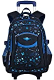 Rolling Backpack, COOFIT Wheeled Backpack School Roller Backpack Rolling Backpack With Wheels kids luggage (Coofit Originally Design Blue)