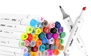 Ohuhu 40 Colors Dual Tips Art Sketch Twin Marker Pens Highlighters with Carrying Case for Painting Coloring Highlighting and Underlining