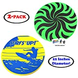 22' Diameter Large Nylon Fabric Flying Disc Big Beach Frisbee Outdoor Sports Soft Saucers Assorted Designs with 2 GosuToys Stickers