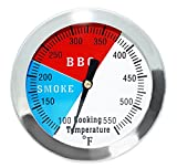 DOZYANT 2' 550F BBQ Barbecue Charcoal Grill Pit Wood Smoker Temp Gauge Grill Thermometer 2.5' Stem Stainless Steel RWB