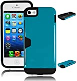 Bastex Heavy Duty Hybrid Case for Apple iPhone 5, 5S, 5G - Coal Black Silicone Cover with Glossy Powder Sky Blue Hard Shell With Credit Card Wallet Slot