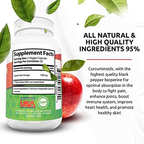 Nu Life Nutrition - Raw Apple Cider Vinegar Pills - Organic Apple Cider Vinegar Capsules - Weight Loss Supplement Pills - Acv Capsules - Apple Cider Vinegar Pills for Weight Loss - 60 Count, 1300mg 4