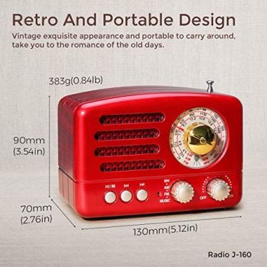 PRUNUS-J-160-Transistor-AM-FM-Radio-Small-Portable-Retro-Radio-with-Bluetooth-Rechargeable-Battery-Operated-Support-TF-Card-AUX-USB-MP3-Player-RED