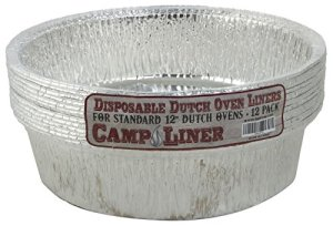 "Disposable Foil Dutch Oven Liner, 12 Pack 12"" 6Q liners, No more Cleaning or seasoning, perfect accessory. Lodge, Camp Chef."