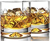 Premium Whiskey Glasses (12oz Set of 2) - Lead Free Hand Blown Crystal - Thick Weighted Bottom - Seamless Handmade Design - Perfect for Scotch, Bourbon, Manhattans and Old Fashioned Cocktails