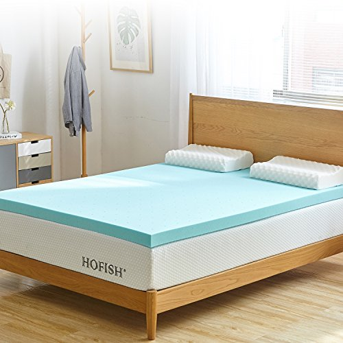 HOFISH 2 Inches Gel Infused Memory Foam Mattress Topper, CertiPUR-US Certified Foam, Queen