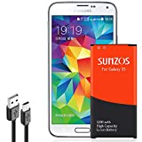SUNZOS Galaxy S5 Battery, 3200mAh Li-ion Replacement Battery for Galaxy S5 [ I9600, G900F, G900V (Verizon), G900T (T-Mobile), G900A (AT&T),G900P(Sprint)] [3 Years Warranty]