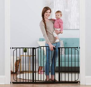 Regalo 58-Inch Home Accents Super Wide Walk Through Baby Gate, Includes 4-Inch, 8-Inch and 12-Inch Extension, 4 Pack of Pressure Mounts and 4 Pack of Wall Cups and Mounting Kit