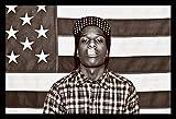 Buyartforless IF TS BG18473 1.25 Black Framed ASAP Mob Rocky with Flag 36X24 Music Art Print Poster Rakim Mayers Smoking Plaid Shirt Rap Hip Hop