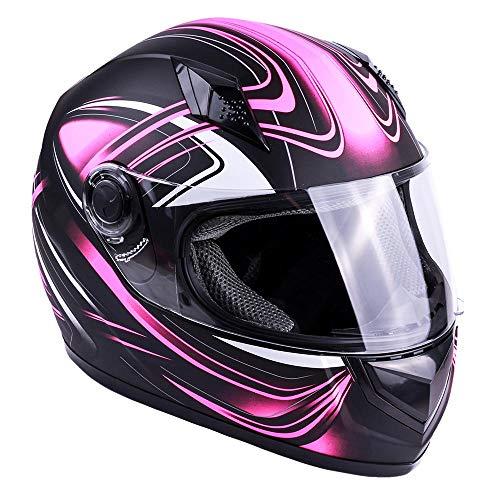 Typhoon Adult Full Face Motorcycle Helmet DOT (Matte Pink, Small)
