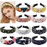 TOBATOBA 10 pcs Bow Knot Headband Floral Twist Turban Headband Cross Knot Wide Headbands Hair Accessories for Women,10 Colors