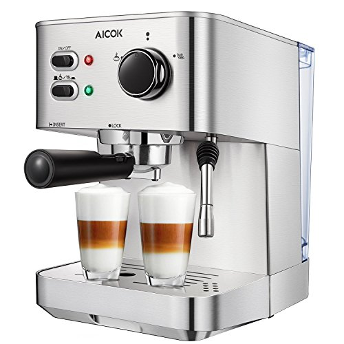 Aicok Coffee Maker, Espresso Machine 15 Bar Steam Cappuccino and Latte Maker Compact Design Milk Frother 12 Cups Coffee Capacity Electric 1500W