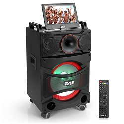 Portable DVD Video PA Speaker System - Portable Battery Powered PA Karaoke Machine w/ Bluetooth, Wireless Microphone, Aux / USB Port & DVD Player - Party Amplifier for Indoor or Outdoor - Pyle PKRK12
