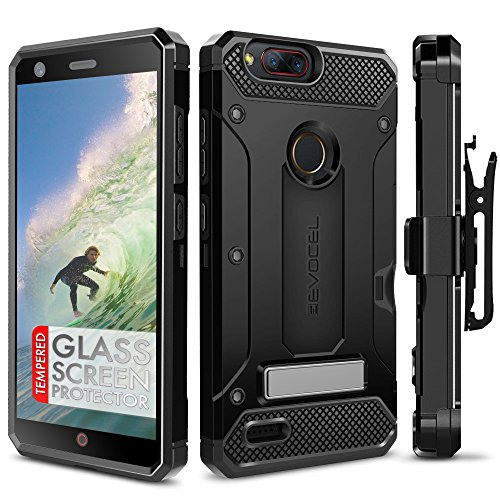 ZTE Blade Z Max Case, Evocel [Explorer Series Pro] Premium Dual Layer Credit Card Case with Glass Screen Protector & Magnetic Kickstand for ZTE Sequoia/ZTE Blade ZMax (Z982), Black