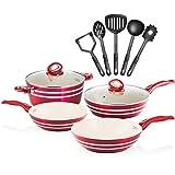 Chef's Star 11 Piece Professional Grade Aluminum Non-stick Pots & Pans Set - Induction Ready Cookware Set - Red / Cream