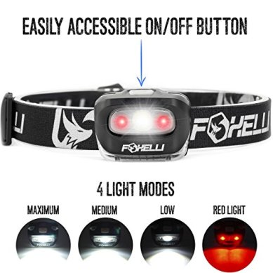 Foxelli-Headlamp-Flashlight-165-Lumen-3-x-AAA-Batteries-Operated-Bright-White-Cree-Led-Red-Light-Perfect-for-Runners-Lightweight-Waterproof-Adjustable-Headband-3-AAA-Batteries-Included