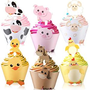 Blulu 60 Pieces Farm Animal Cupcake Wrappers and Toppers for Farm Theme Party – Cupcake Wrappers Toppers Farm Animal Birthday Party Decoration Baby Shower Supplies 51fVif 2BxfuL