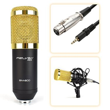 Professional-BM-800-Cardioid-Condenser-Microphone-Set-with-6-Basic-Accessories-and-A-Mixer-Sound-CardLuxury-Kit-BM-800-black