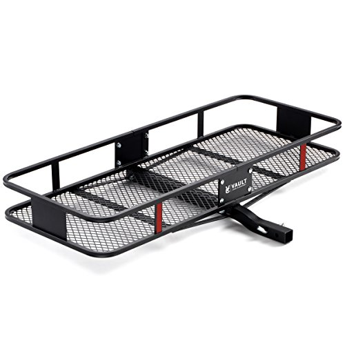 """Hitch Cargo Carrier 60"""" x 24"""" by Vault - Haul Your Cooler & Camping Gear with This Rugged Steel Constructed Basket Carrier for Your Truck or SUV - Easily Mounts to Trailer Towing Hitches"""