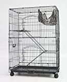 Homey Pet - 3 Tiers 30' Cat Cage with Hammock, Casters, Sleeping Platform and Pull Out Tray