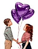 Treasures Gifted Valentines Day Heart Love Decorations in Lavender Purple Foil Mylar Balloons for Birthday Baby Shower Wedding Engagement Party Graduation Supplies (12 Pack)