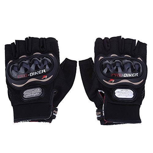 AutoLover� Paired Half-finger Motorcycle Gloves Motorbike Outdoor Sports Riding Breathable Protective Gears(BLACK-M)