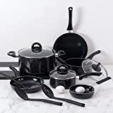 Fleischer & Wolf Nonstick Pots and Pans Sets Aluminum Cookware Sets 12pc Black Pans Sets Black Pots Nylon Slotted Spoons Dishwasher Safe