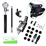 Bike Tire Repair Tool Kit with Mini Gauge Hand Pump, Including 210PSI Bicycle Air Pump Fit Schrader Presta, 16 in 1 Multi Bicycle Fix Tools, Tire Puncture Repair Kit and One Cycling Seat Pack