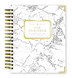 Day Designer 2019-2020 Daily Life Planner and Agenda, Hardcover, Twin-Wire Binding, 9' x 9.75', White Marble