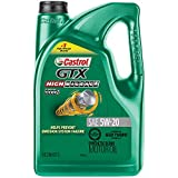 Castrol 03100 GTX High Mileage 5W-20 Synthetic Blend Motor Oil, 5 Quart
