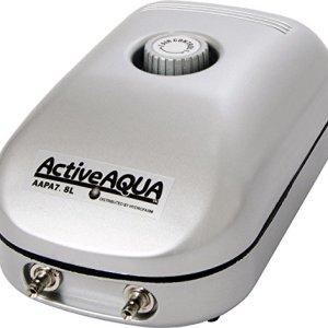 Hydrofarm AAPA7.8L Active Aqua, 2 Outlets, 3W, 7.8 L/min Air Pump, Silver 51faneRENeL