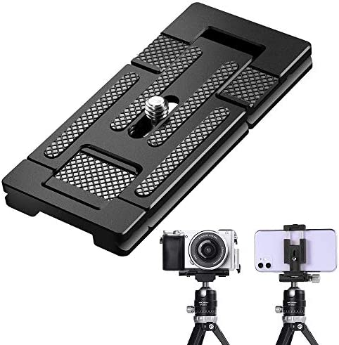 K&F Concept Aluminum Alloy Quick Release Plate with 1/4 Inch Screw for Camera, Cage, Cellphone etc (Black)