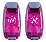 LED Safety Light (2 Pack) + Free Bonuses | Clip On Strobe/Running Lights for Runners, Dogs, Bike, Walking | The Best High Visibility Accessories for Your Reflective Gear, Bicycle etc (Pink)