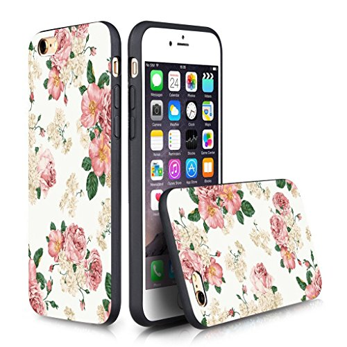Apple 6/6S Case iPhone 6S (4.7 inches) Black Case TPU- Retro nostalgia Floral pattern