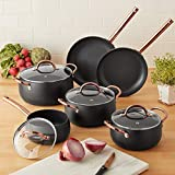 Mainstays 10-Piece Nonstick Aluminum Kitchen Cookware Pots and Pans Set, Beautifully Crafted for your Cooking Needs (Matte Black with Rose Gold Handles)