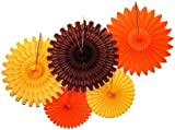 Devra Party 5-Piece Tissue Paper Fans, Fall Orange...