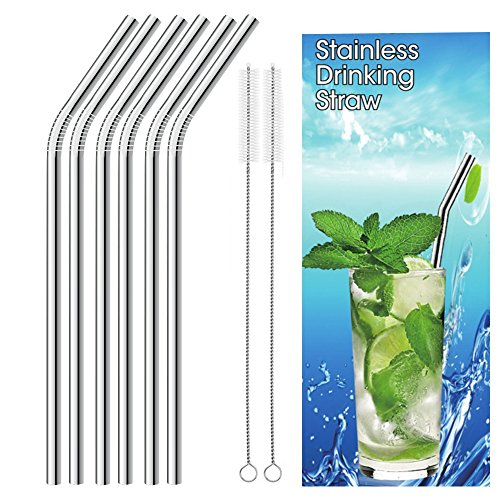 16 Pack Stainless Steel Drinking Straws Metal Reusable