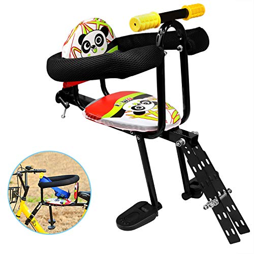 Together-life Front Mounted Child Bicycle Seat with Handrail and Pedal Bike Kids' Safety Seats Front Seat Saddle Cushion