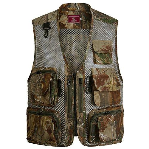 Men's Mesh Breathable Openwork Camouflage Journalist Photographer Hunting Vest Waistcoat Jacket Coat (Brown, XX-Large)