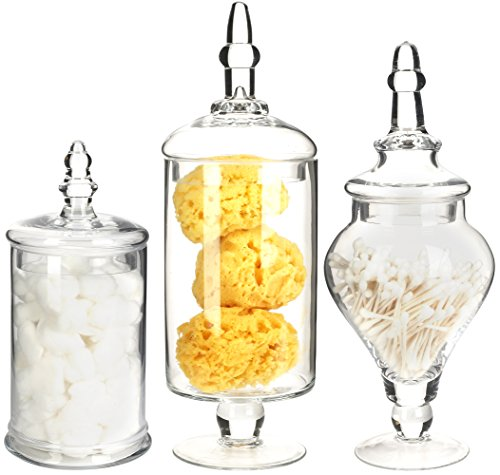 Mantello Decor Glass Apothecary Jars (Clear, Medium, Set of 3)