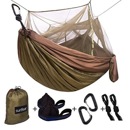 Single & Double Camping Hammock With Mosquito/Bug Net, 10ft Hammock Tree Straps & Carabiners | Easy Assembly | Portable