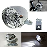 GOODKSSOP 3 LED Classical Cool Silver Vintage Cycling Front Light for Bicycle Headlight Retro Bike Fog Head Lamp Night Riding Safety Headlamp with Bracket
