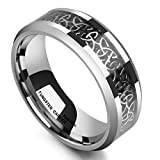 King Will 8mm Tungsten Carbide Ring Wedding Band for Men Inlay Celtic Knot Engagement Ring Comfort Fit(11)